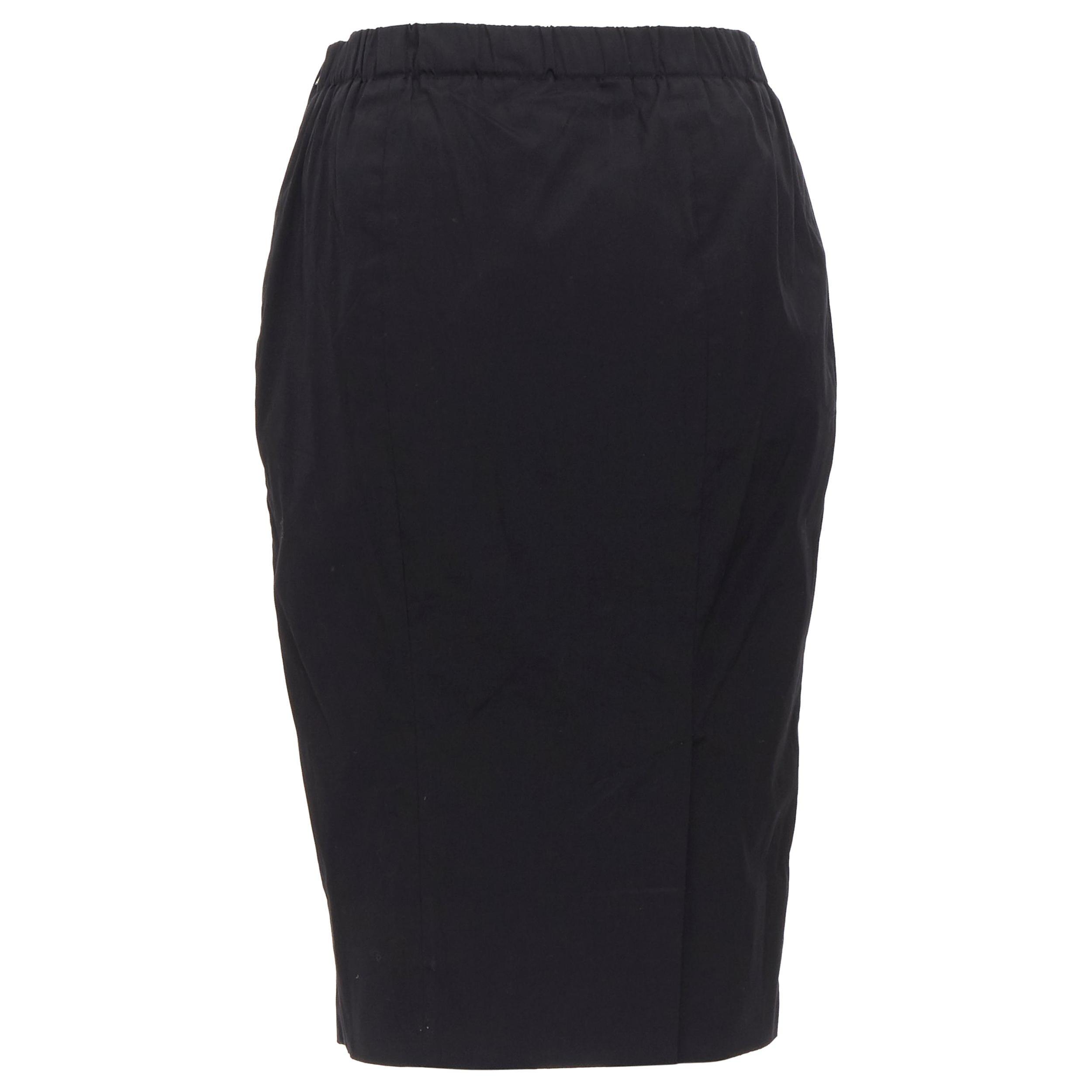 PRADA black cotton blend elasticated waist center vent casual skirt IT42