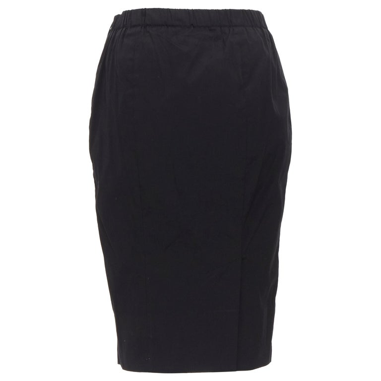 PRADA black cotton blend elasticated waist center vent casual skirt IT42 For Sale