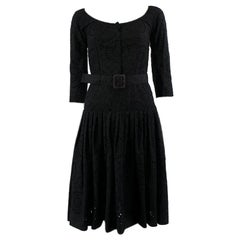 PRADA black cotton BRODERIE ANGLAISE BELTED Dress 38