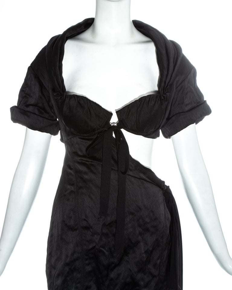 Black Prada black crinkled dress with cut-out and attached bra, ss 2009 For Sale
