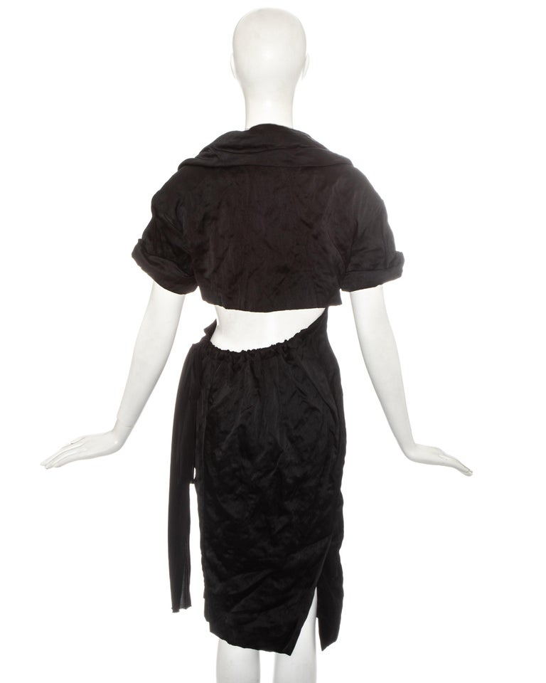 Prada black crinkled dress with cut-out and attached bra, ss 2009 For Sale 2
