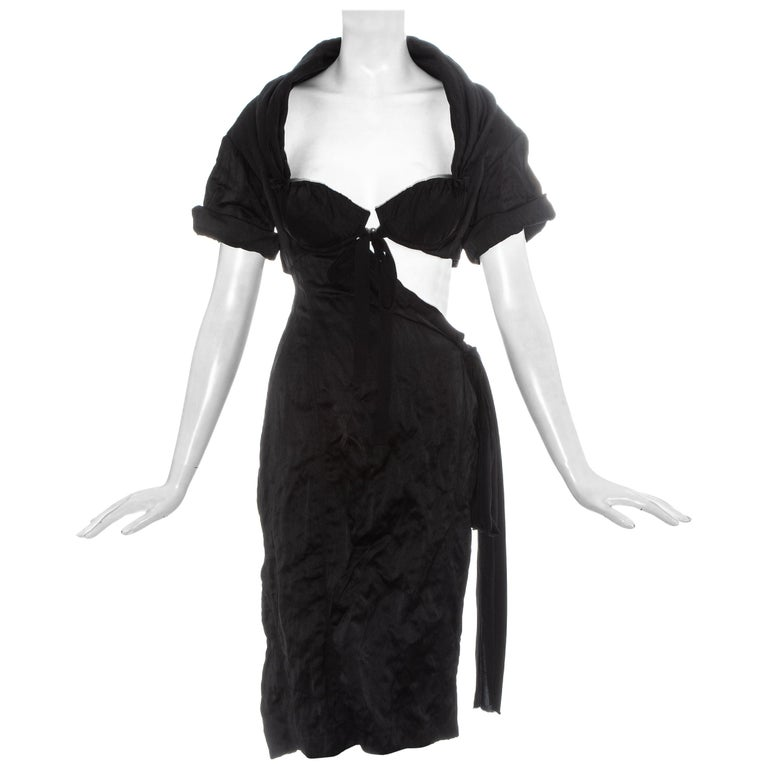 Prada black crinkled dress with cut-out and attached bra, ss 2009 For Sale