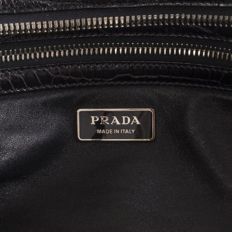 Black PRADA black CROCODILE large Top Handle Bag For Sale