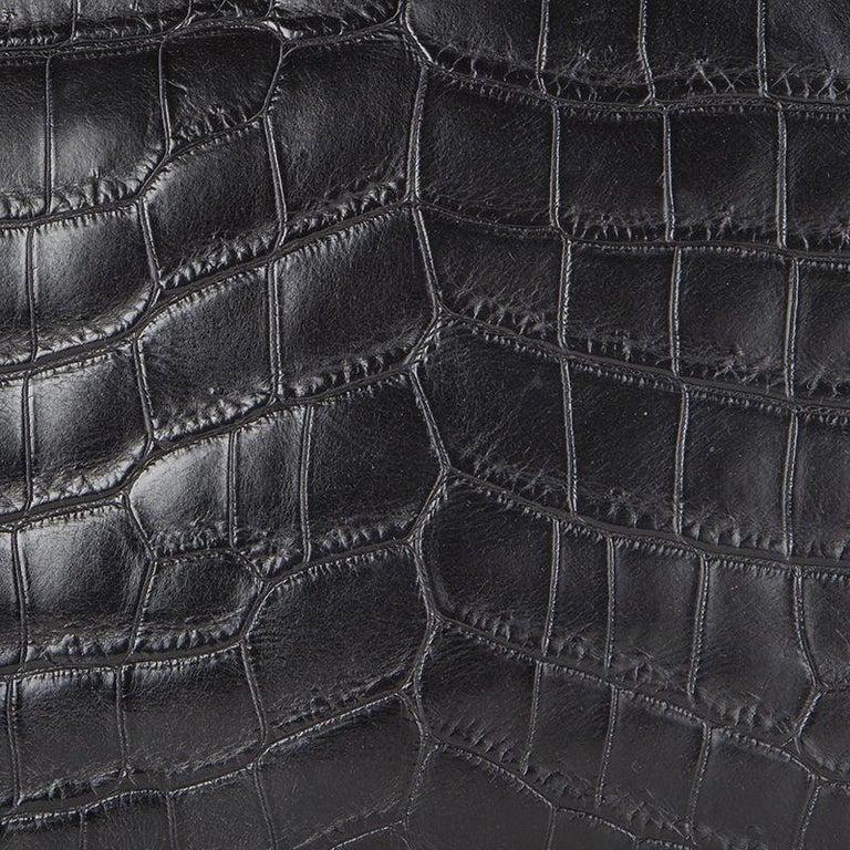 Women's or Men's PRADA black CROCODILE large Top Handle Bag For Sale