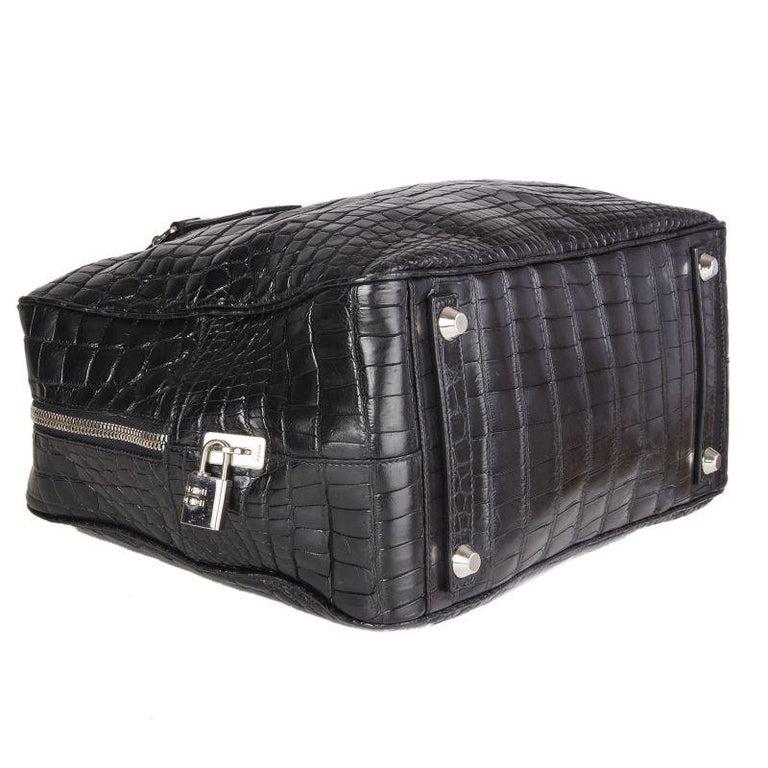 PRADA black CROCODILE large Top Handle Bag For Sale 1