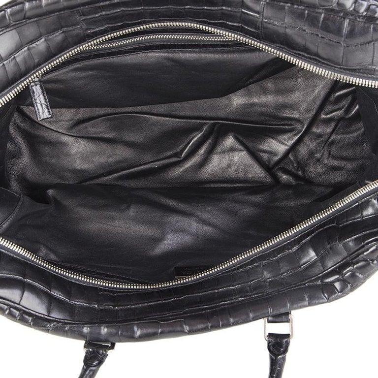 PRADA black CROCODILE large Top Handle Bag For Sale 2