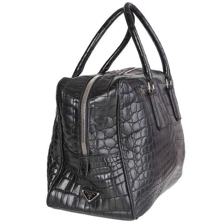 PRADA black CROCODILE large Top Handle Bag For Sale 3