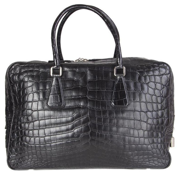 PRADA black CROCODILE large Top Handle Bag For Sale 4