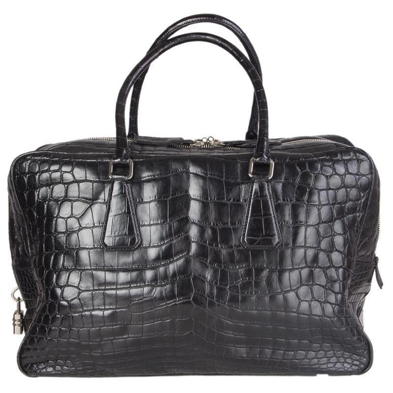 PRADA black CROCODILE large Top Handle Bag