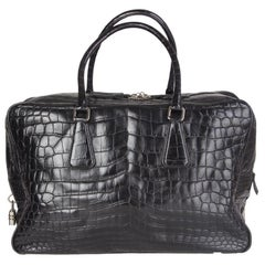 PRADA black CROCODILE large Top Handle Bag