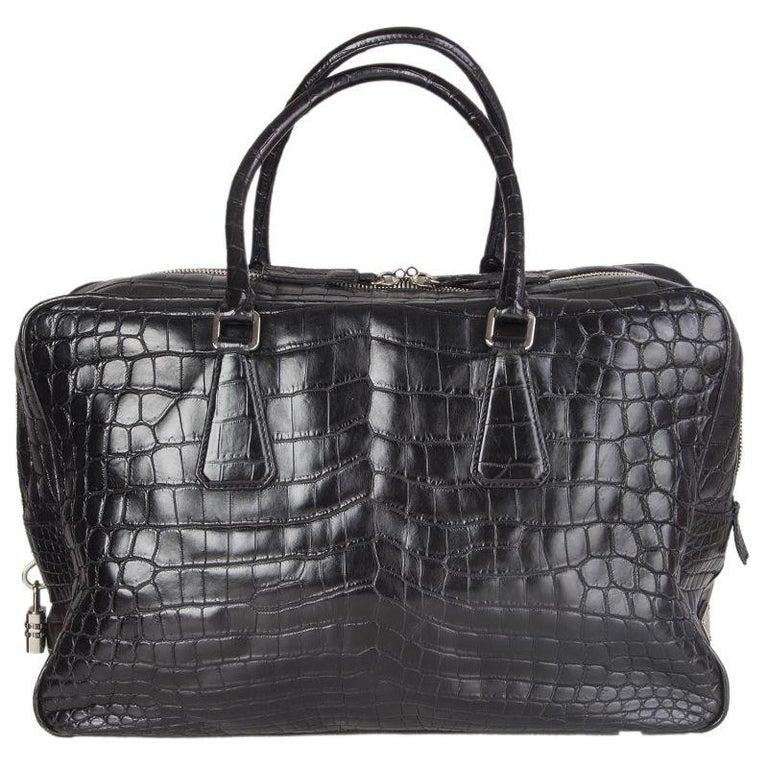 PRADA black CROCODILE large Top Handle Bag For Sale