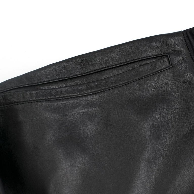 Prada Black Cropped Leather Pants SIZE M For Sale 1