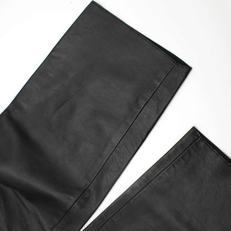 Prada Black Cropped Leather Pants SIZE M For Sale 5