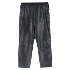 Prada Black Cropped Leather Pants SIZE M