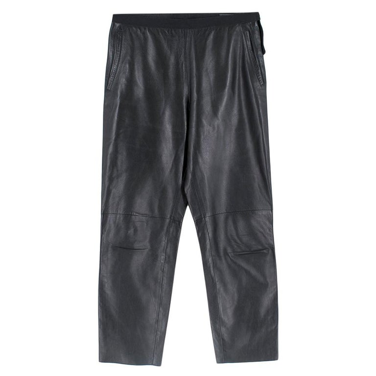 Prada Black Cropped Leather Pants SIZE M For Sale