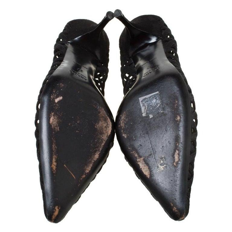 Prada Black Cutout Suede Pointed Toe Kitten Heel Pumps Size 37 For Sale 1