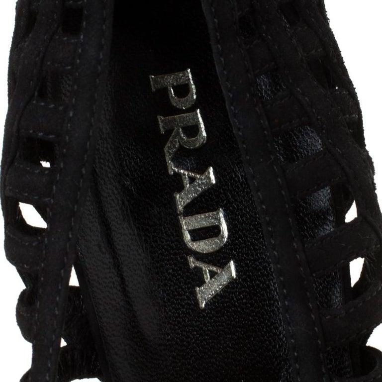 Prada Black Cutout Suede Pointed Toe Kitten Heel Pumps Size 37 For Sale 2