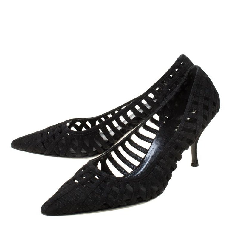 Prada Black Cutout Suede Pointed Toe Kitten Heel Pumps Size 37 For Sale 3