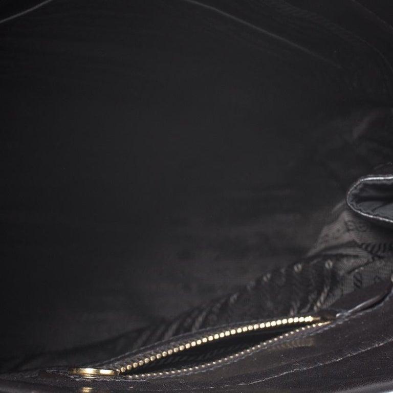 Prada Black/Dark Brown Nylon and Leather Tote For Sale 6