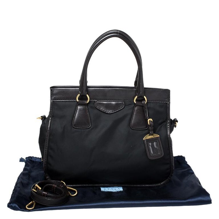 Prada Black/Dark Brown Nylon and Leather Tote For Sale 8