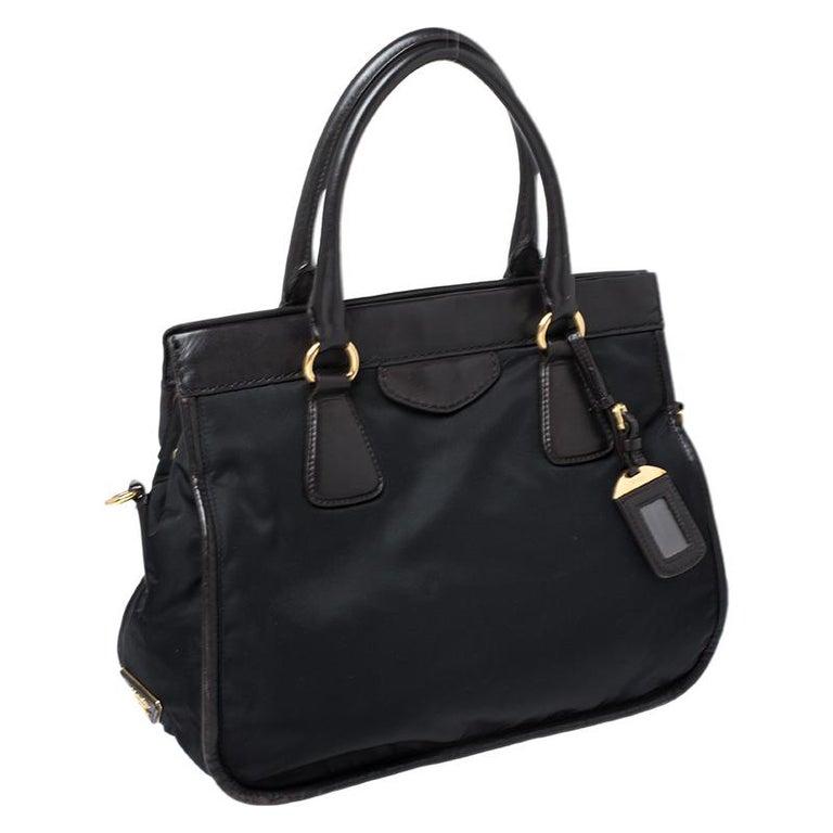 Women's Prada Black/Dark Brown Nylon and Leather Tote For Sale