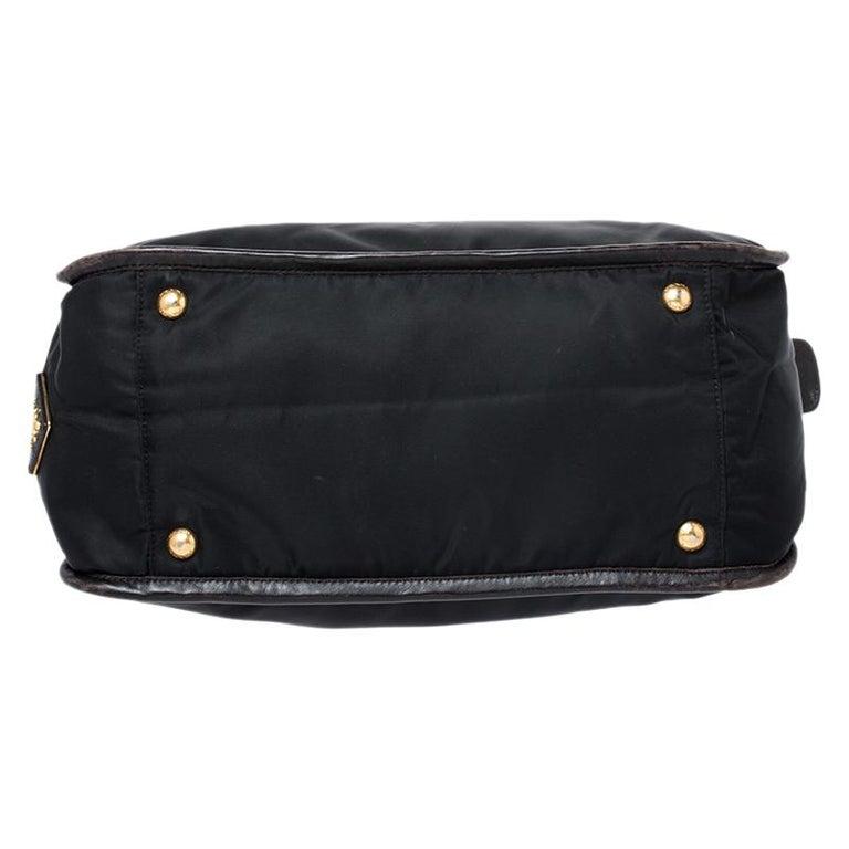 Prada Black/Dark Brown Nylon and Leather Tote For Sale 1