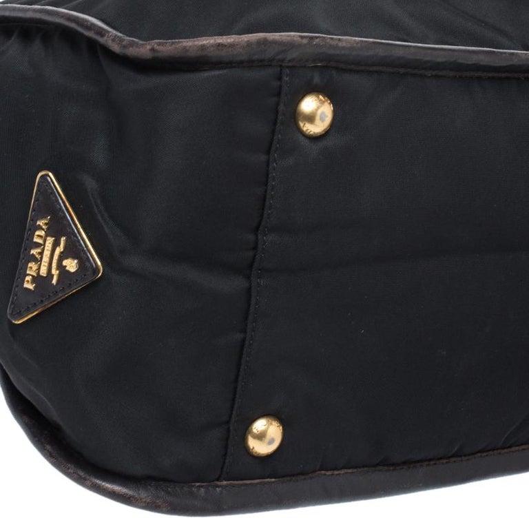 Prada Black/Dark Brown Nylon and Leather Tote For Sale 2