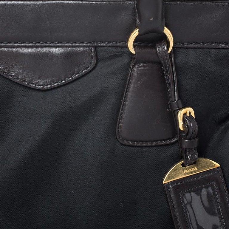 Prada Black/Dark Brown Nylon and Leather Tote For Sale 3
