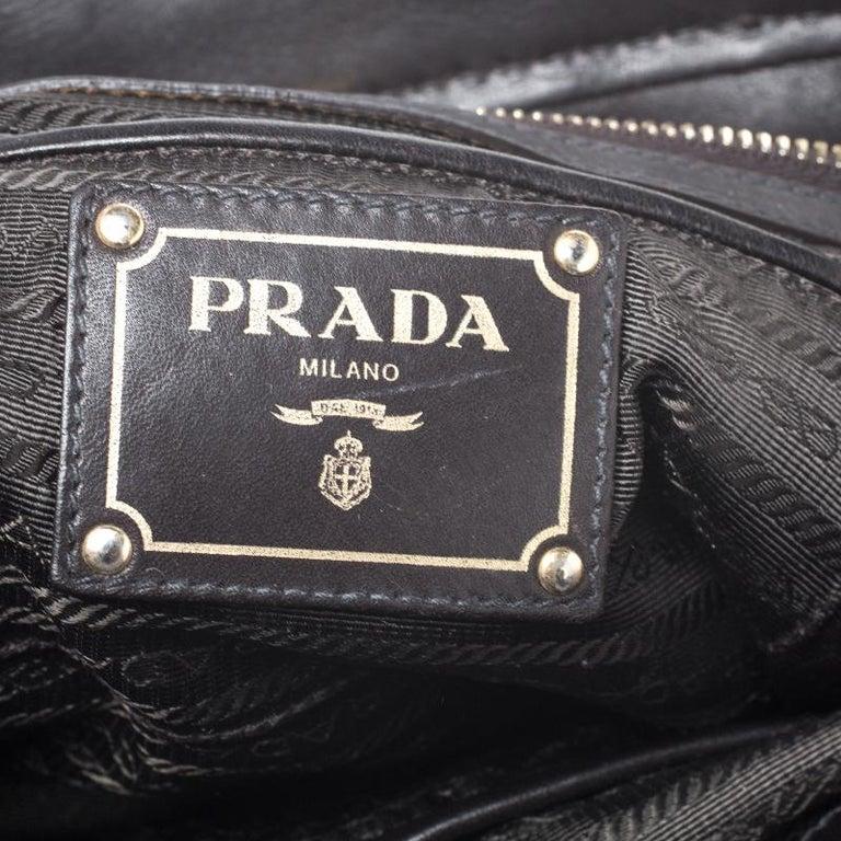 Prada Black/Dark Brown Nylon and Leather Tote For Sale 4