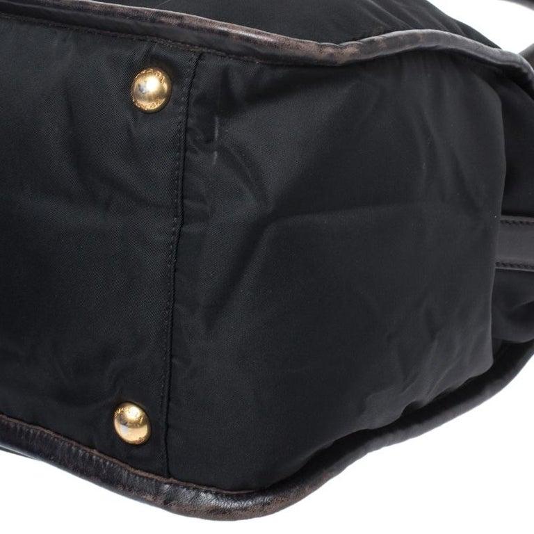Prada Black/Dark Brown Nylon and Leather Tote For Sale 5