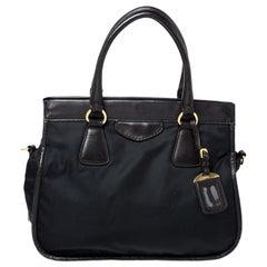 Prada Black/Dark Brown Nylon and Leather Tote