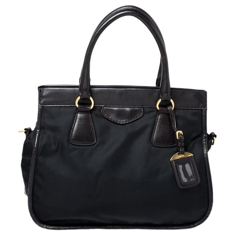 Prada Black/Dark Brown Nylon and Leather Tote For Sale