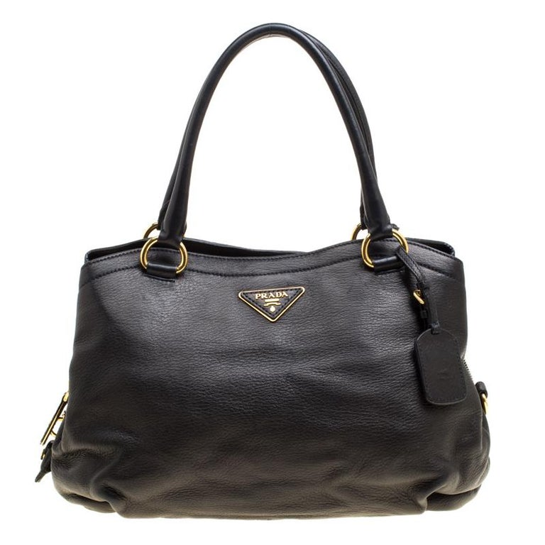 8fe16551e15d Prada Black Deerskin Leather Shoulder Bag For Sale at 1stdibs