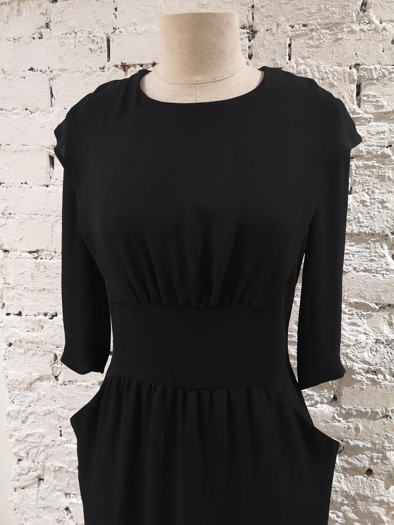 Prada black dress totally made in italy in polyestere size 42 total lenght 100 cm