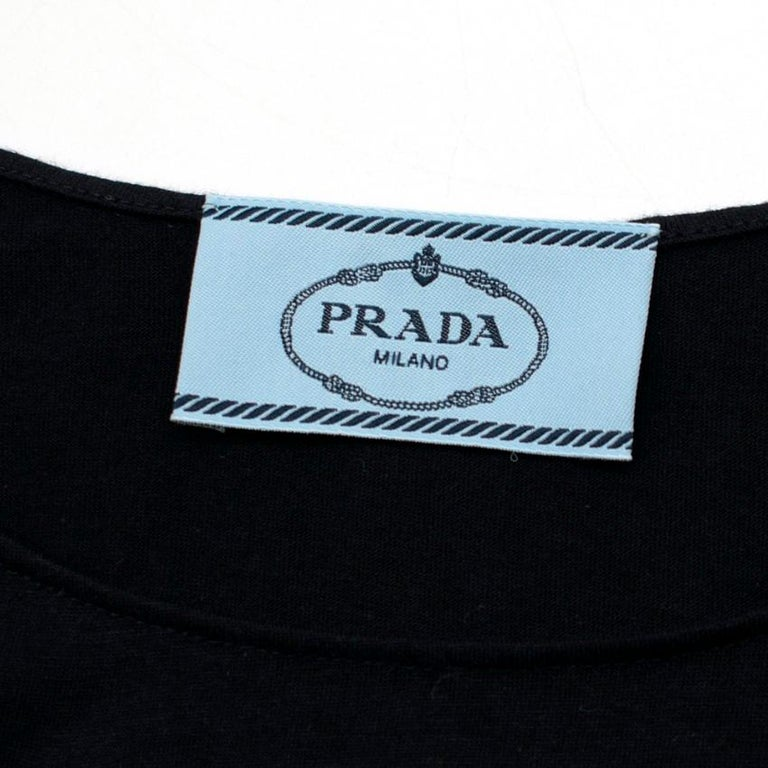 Prada Black Dress w/ Embroidered White Flower S 42 For Sale 1