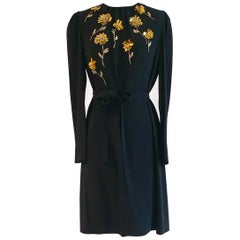 Prada Black Dress with Gold Floral Beadwork Long Sleeve Shift with Tie Belt