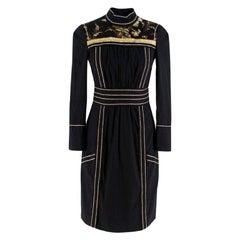Prada black embroidered high neck dress XXS 38