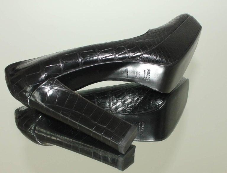 NEW Prada Black Exotic Skin Crocodile Platform High Heels Pumps For Sale 2