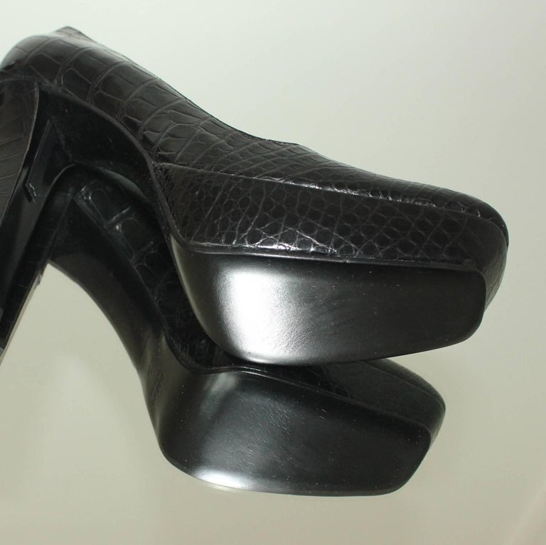 NEW Prada Black Exotic Skin Crocodile Platform High Heels Pumps For Sale 3