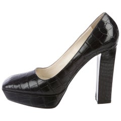Prada Black Exotic Crocodile Platform High Heels Pumps