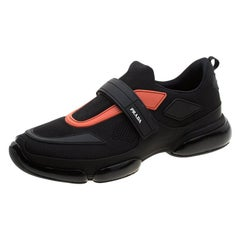 Prada Black Fabric/Leather Cloudbust Slip-On Sneakers Size 41.5