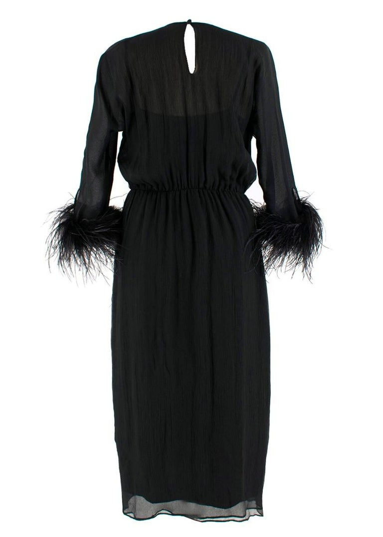 Prada Black Feather-trimmed silk-georgette lightweight midi dress XS 40 In Excellent Condition For Sale In London, GB
