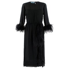 Prada Black Feather-trimmed silk-georgette lightweight midi dress XS 40