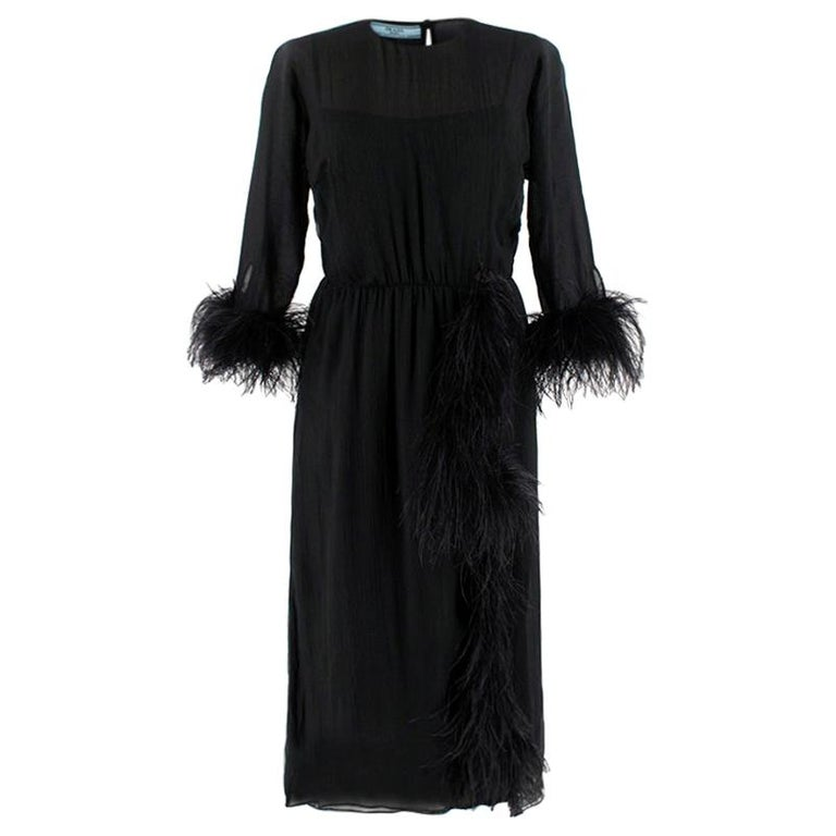 Prada Black Feather-trimmed silk-georgette lightweight midi dress XS 40 For Sale