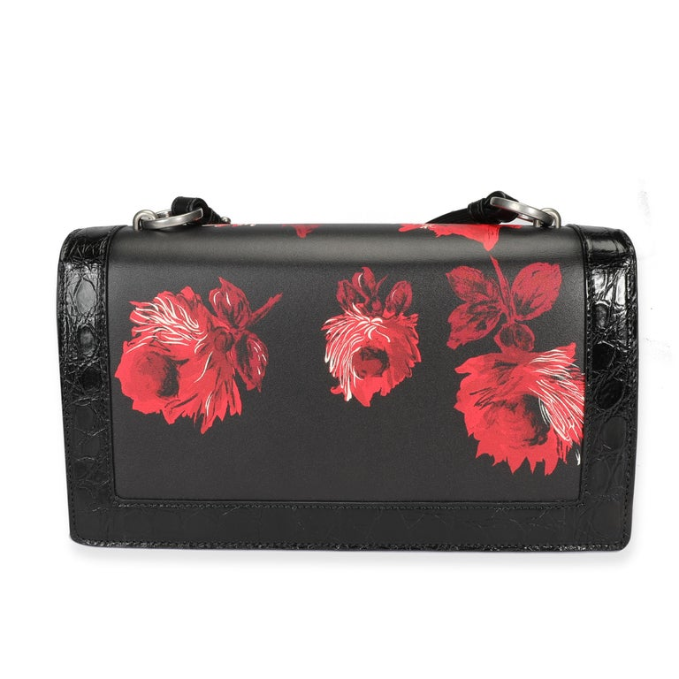 Prada Black Floral & Lipstick Print Leather Séverine Bag In Good Condition For Sale In New York, NY