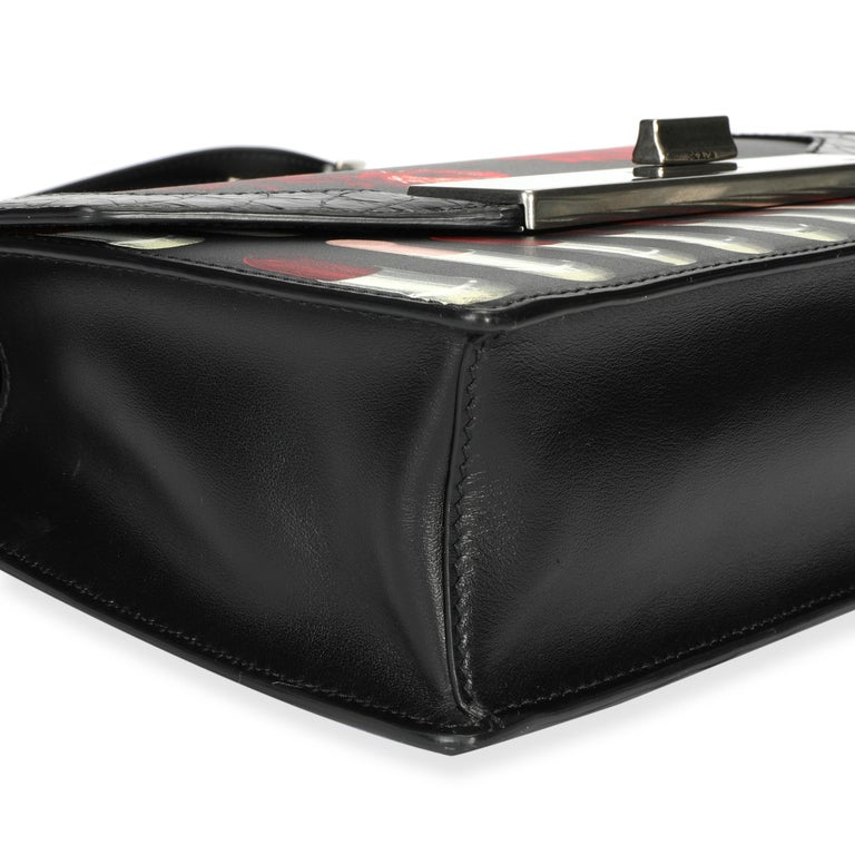 Prada Black Floral & Lipstick Print Leather Séverine Bag For Sale 3