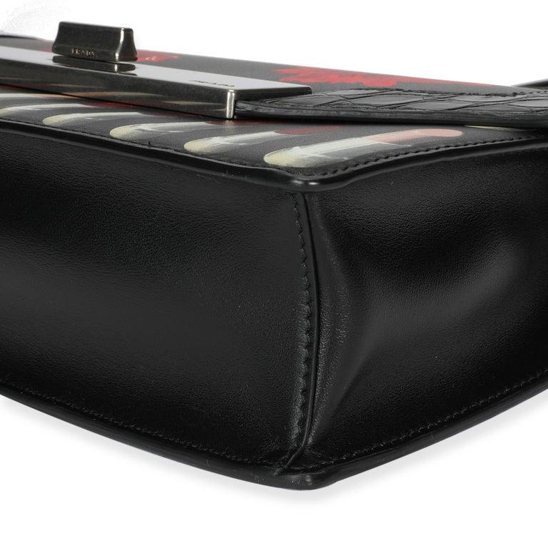 Prada Black Floral & Lipstick Print Leather Séverine Bag For Sale 4
