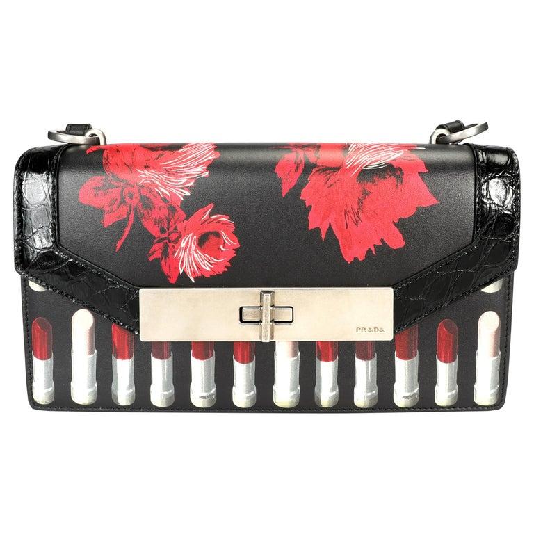 Prada Black Floral & Lipstick Print Leather Séverine Bag For Sale