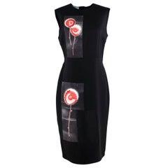 Prada Black Floral Panel Print Silk Dress - Us size 8