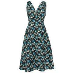 Prada Black Floral Printed Cotton Faux Wrap Flared Midi Dress L